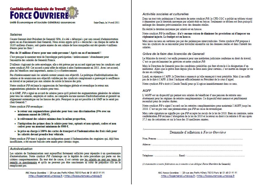 Cliquez ici pour lire le tract FO Generali du 22 mars 2011