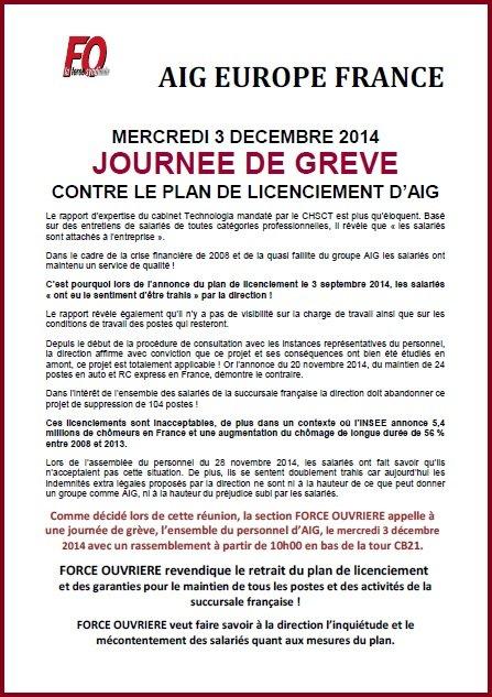 Tract FO AIG Grève pour le retrait du plan de licenciement 03 12 14
