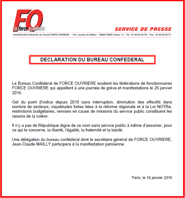 Déclaration du Bureau Confédéral FO du 18 janvier 2016