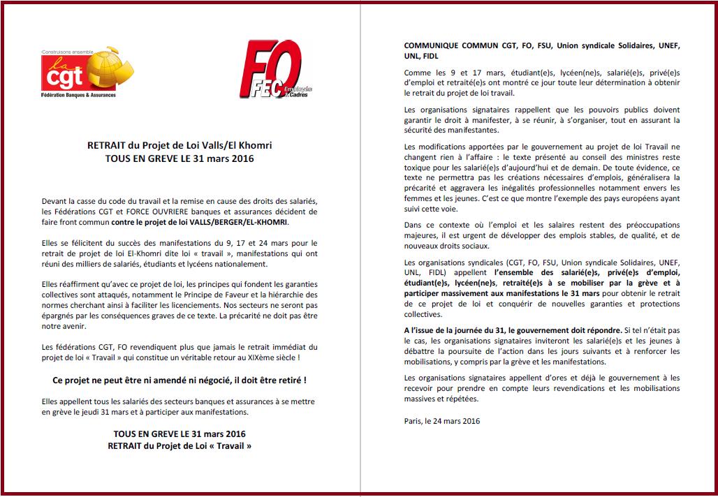 Tract commun FEC FO et Fédération CGT - Banques Assurances