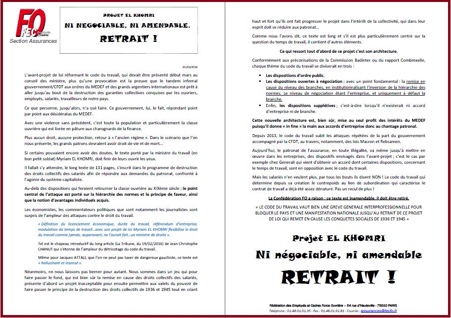 Tract SF Assurances FO Retrait du projet de loi travail El khomri