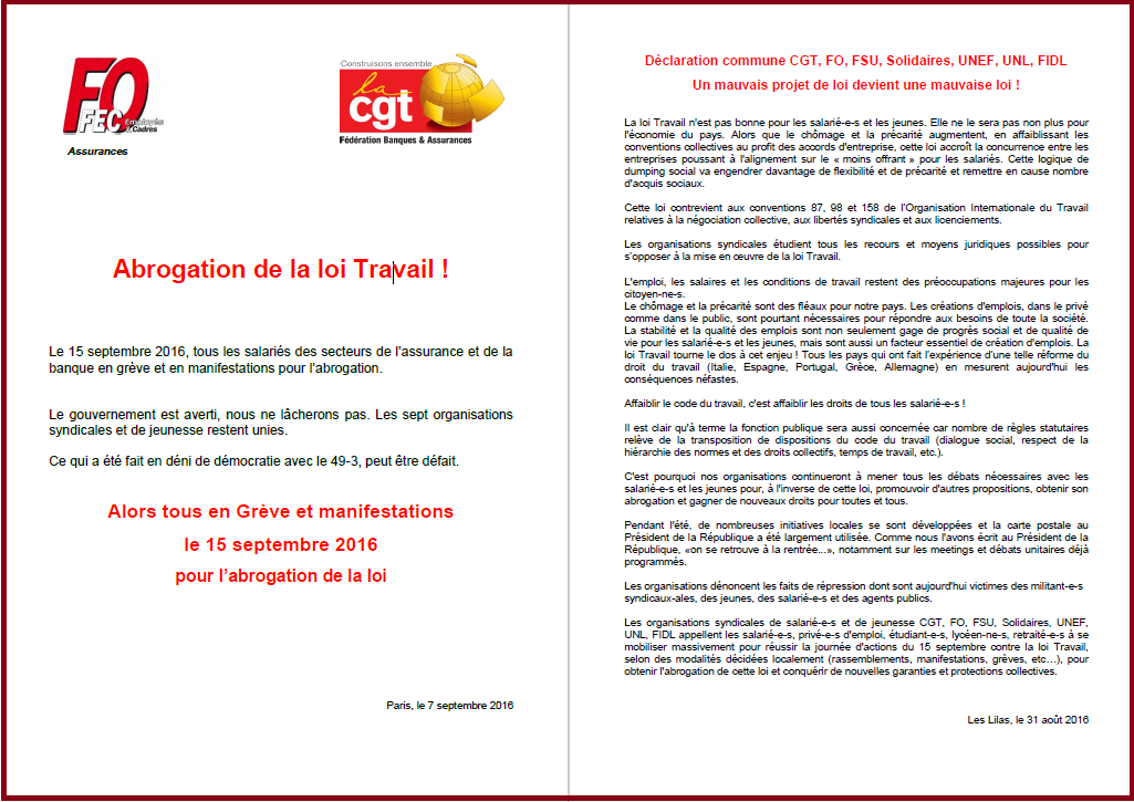 Appel commun FEC FO et Fédération CGT - Banques Assurances 15 SEPTEMBRE LOI TRAVAIL