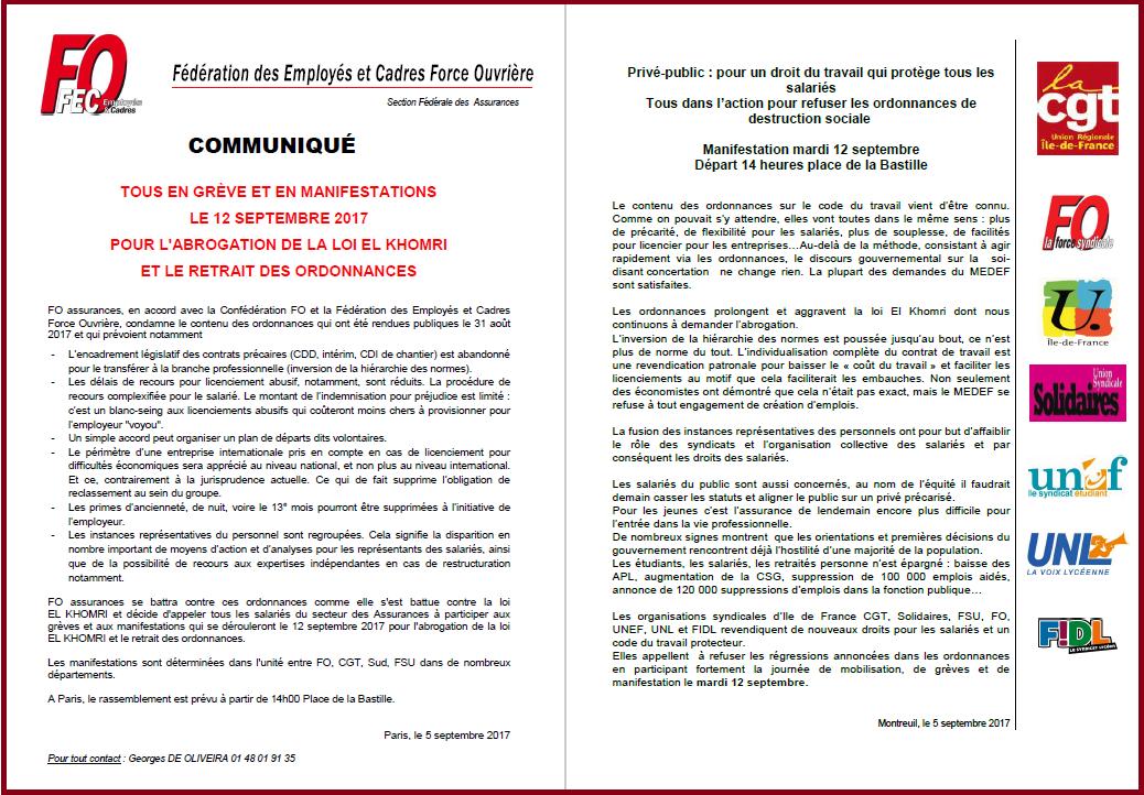 Communiqué SF FO Assurances Grève & Manifestations 12 septembre 2017