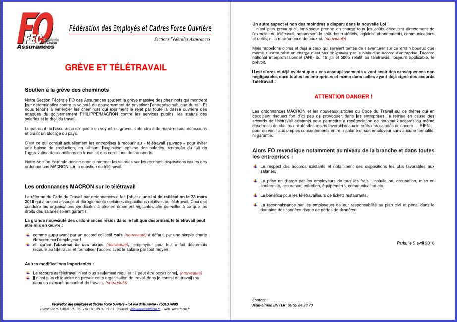 Tract SF Assurances 05 Avril 2018 Grève & Télétravail