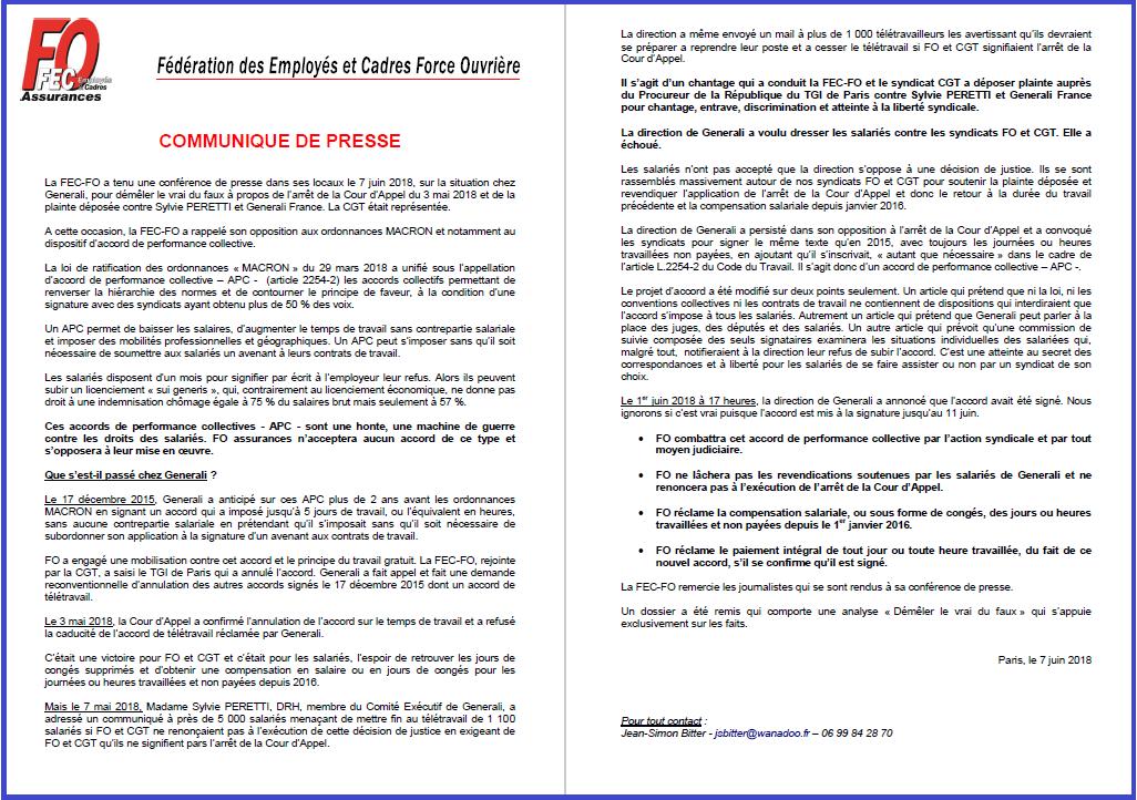 FEC FO Assurances : Communiqué de Presse du 7 juin 2018 / Generali - APC