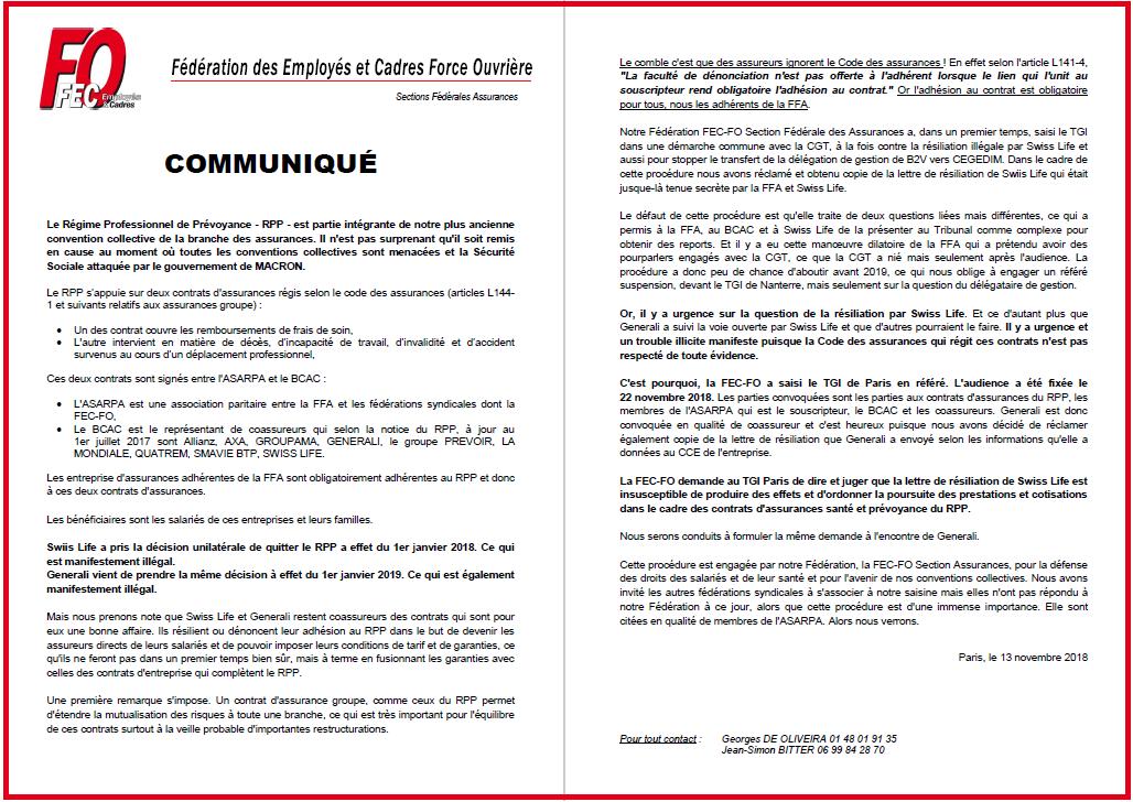 RPP Assurances - Communiqué FEC-FO Assurances du 13/11/18